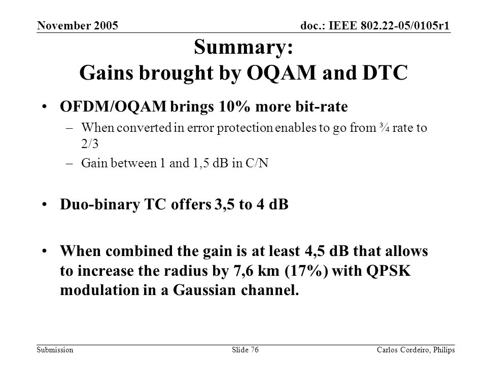 Summary: Gains brought by OQAM and DTC