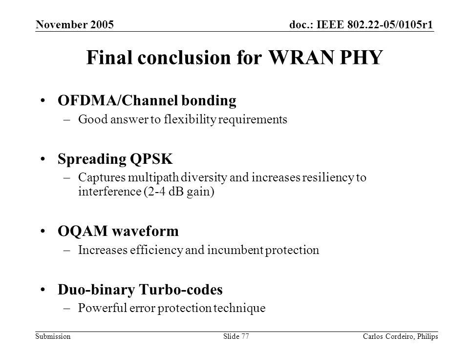 Final conclusion for WRAN PHY