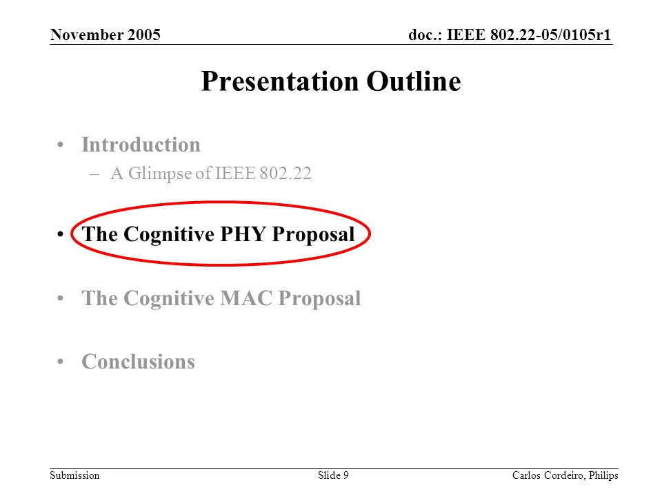 Presentation Outline Introduction The Cognitive PHY Proposal
