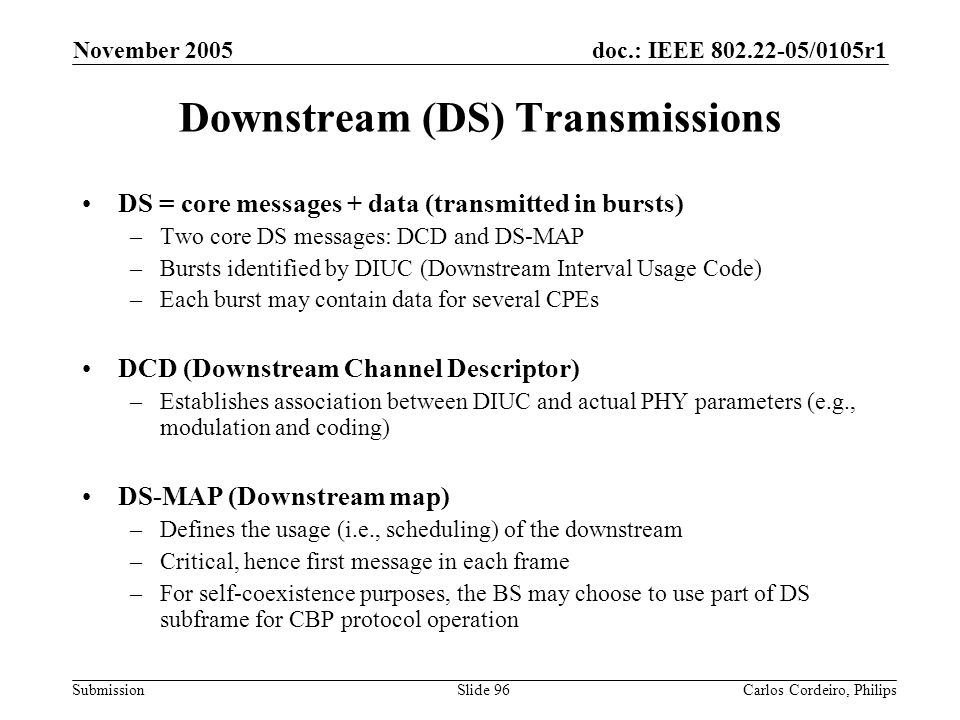 Downstream (DS) Transmissions
