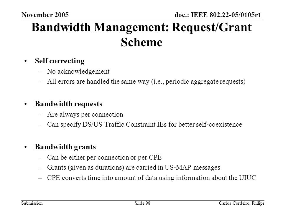 Bandwidth Management: Request/Grant Scheme