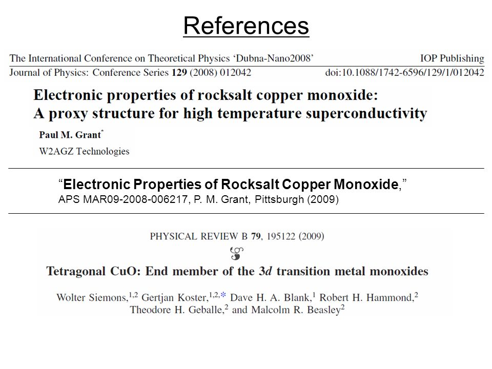 References Electronic Properties of Rocksalt Copper Monoxide,