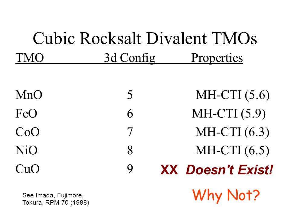Cubic Rocksalt Divalent TMOs