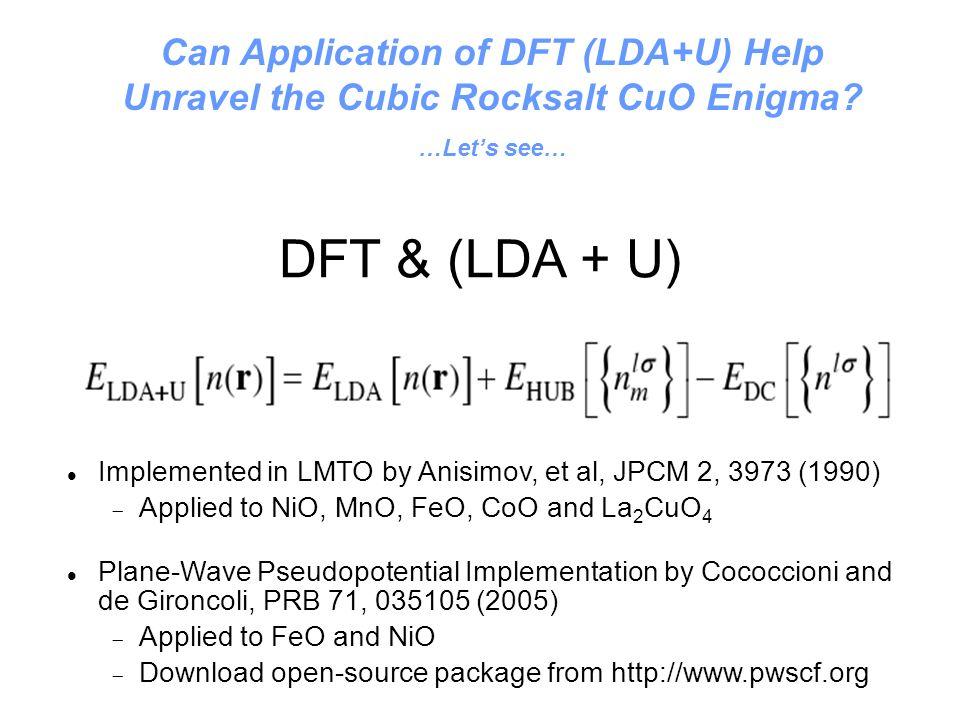 Can Application of DFT (LDA+U) Help Unravel the Cubic Rocksalt CuO Enigma