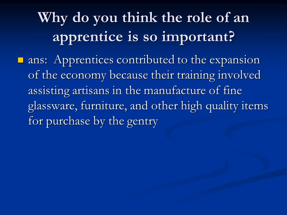 Why do you think the role of an apprentice is so important