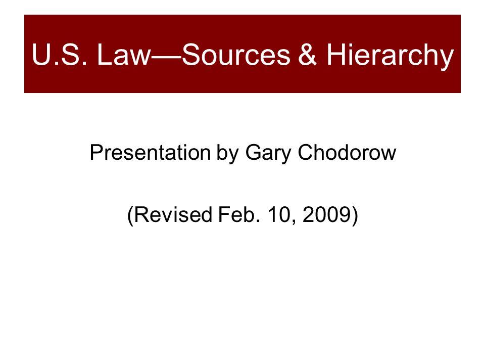 U.S. Law—Sources & Hierarchy