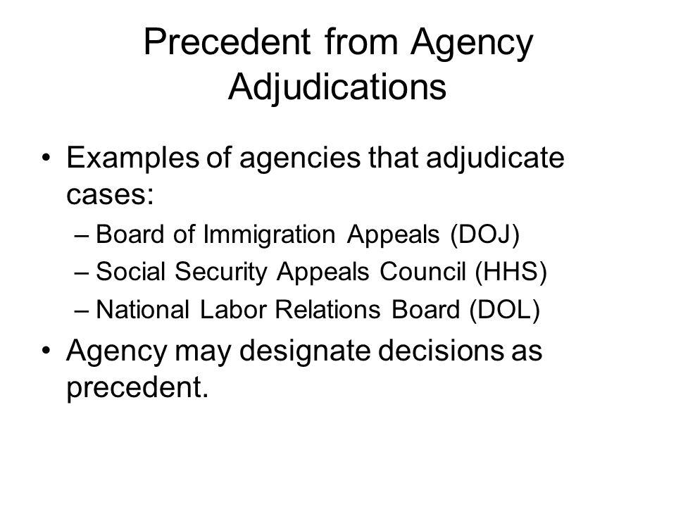Precedent from Agency Adjudications