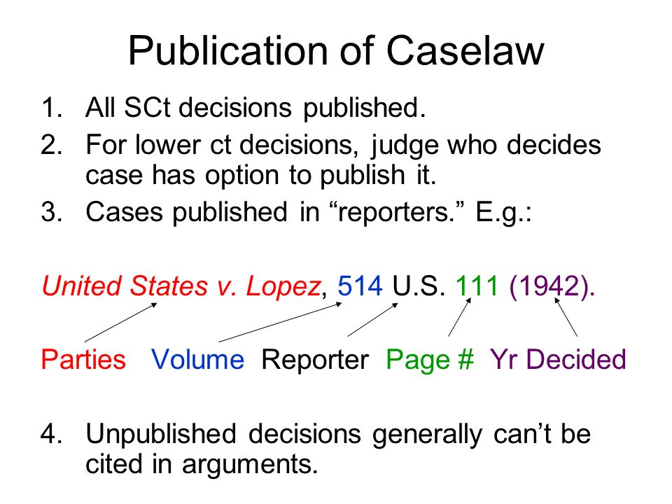 Publication of Caselaw