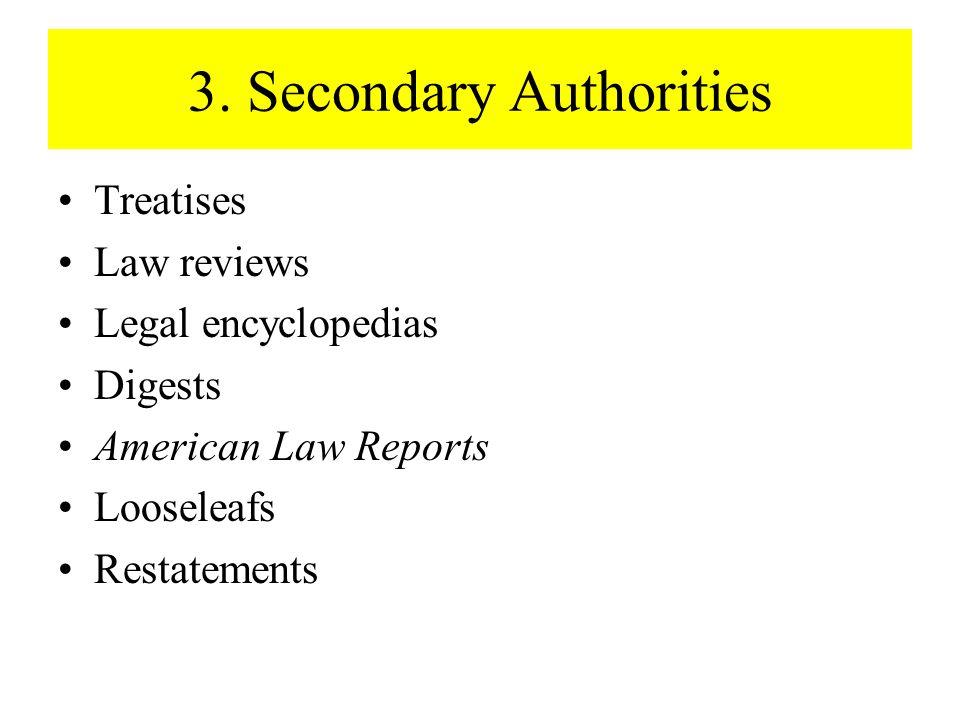 3. Secondary Authorities