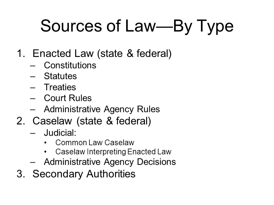 Sources of Law—By Type Enacted Law (state & federal)