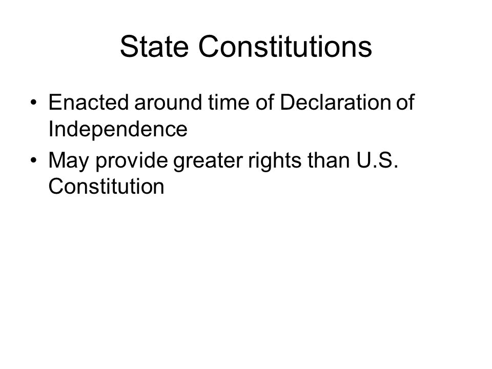 State Constitutions Enacted around time of Declaration of Independence