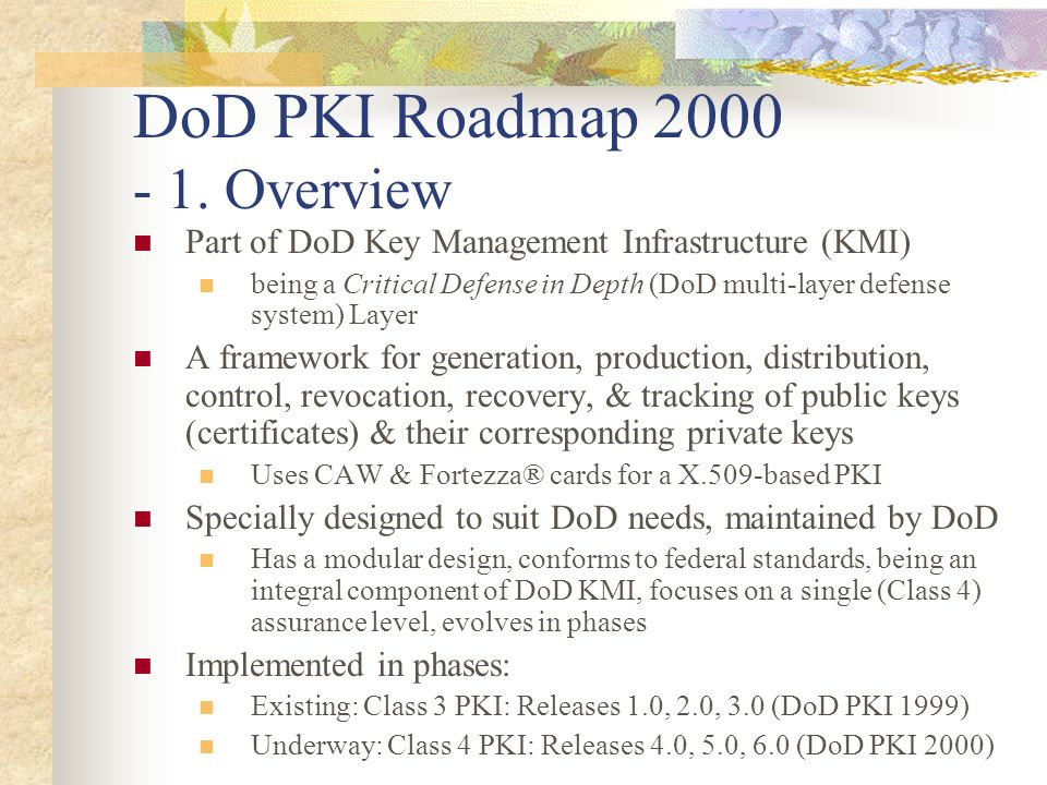 DoD PKI Roadmap 2000 - 1. Overview