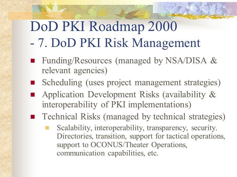 DoD PKI Roadmap 2000 - 7. DoD PKI Risk Management