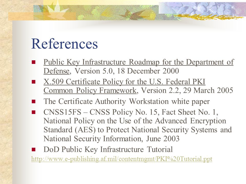 References Public Key Infrastructure Roadmap for the Department of Defense, Version 5.0, 18 December 2000.