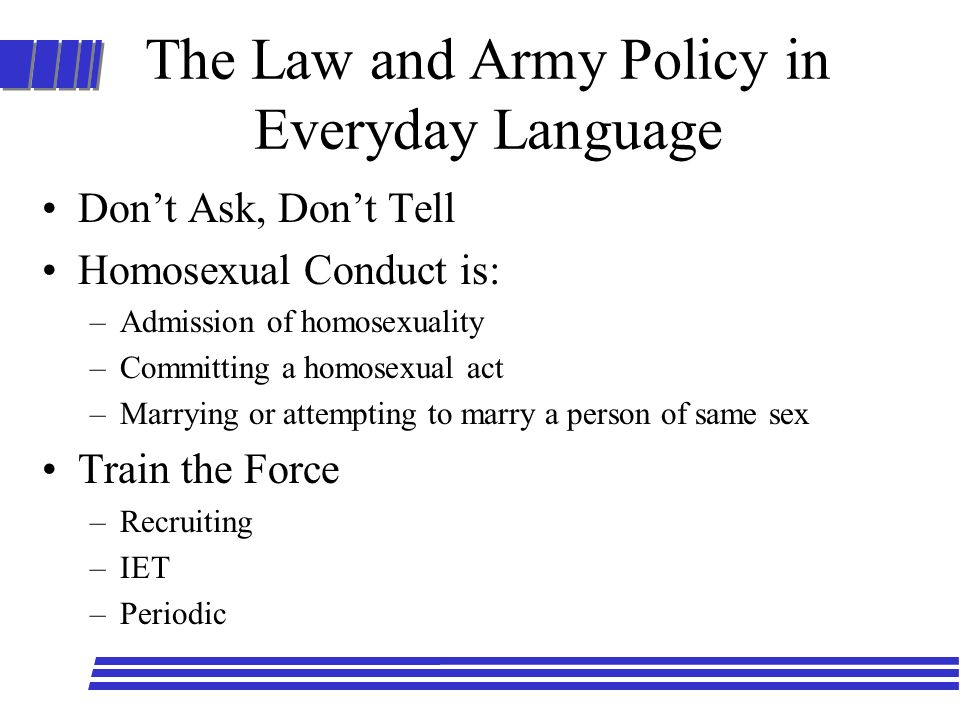 The Law and Army Policy in Everyday Language
