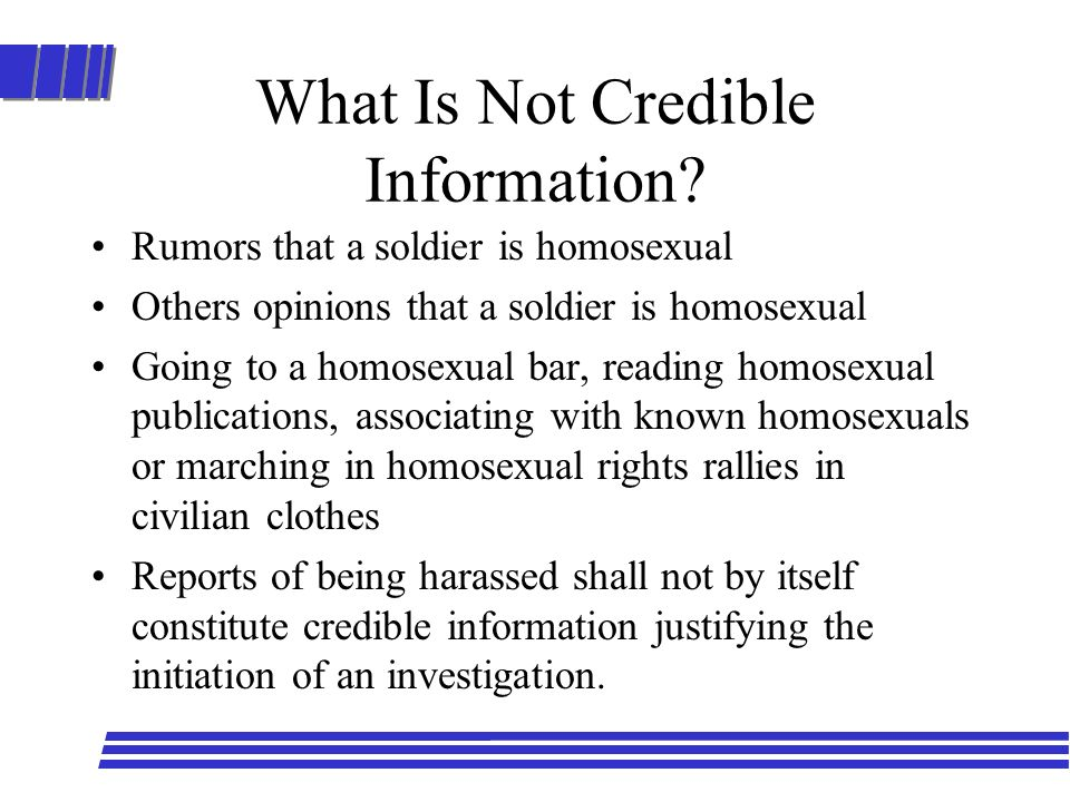 What Is Not Credible Information