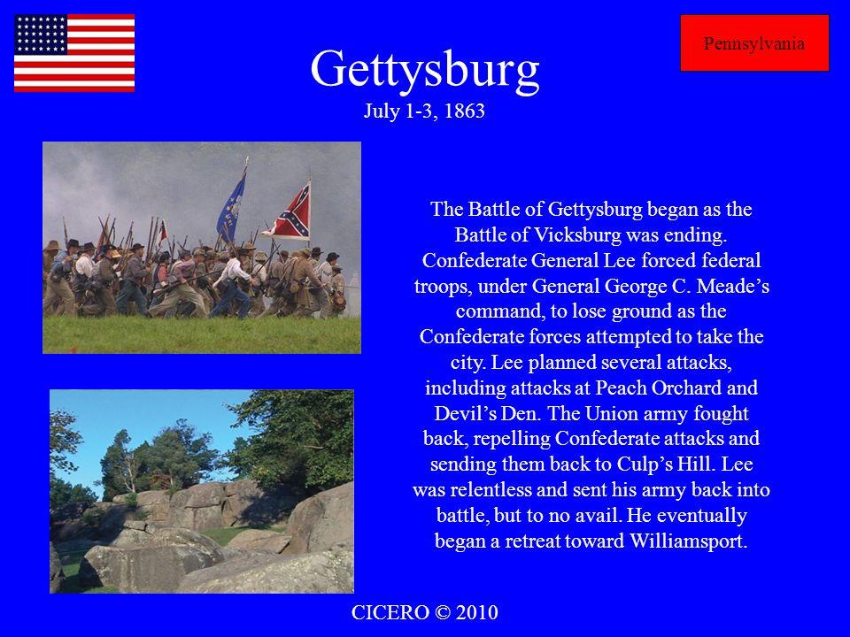 Pennsylvania Gettysburg July 1-3, 1863.