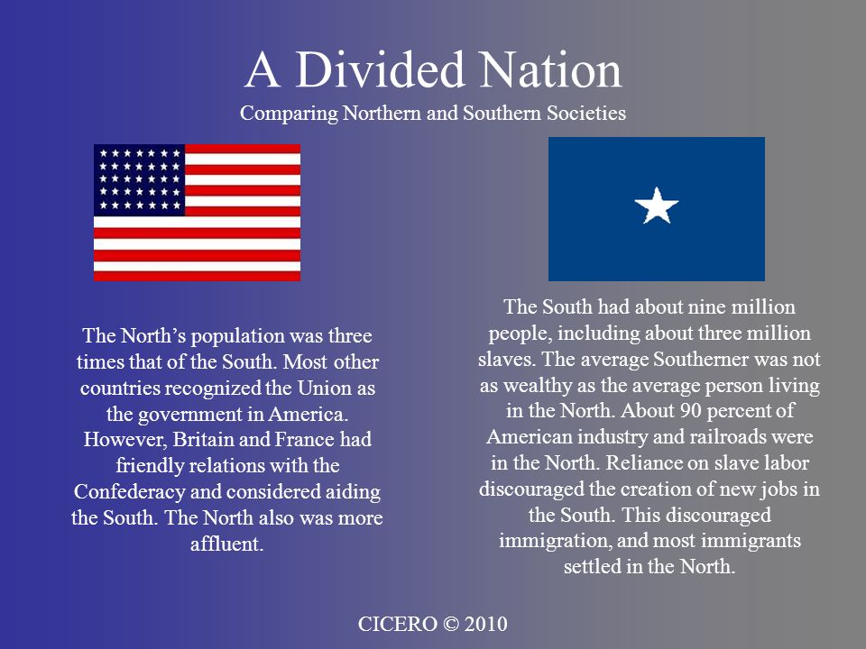 A Divided Nation Comparing Northern and Southern Societies