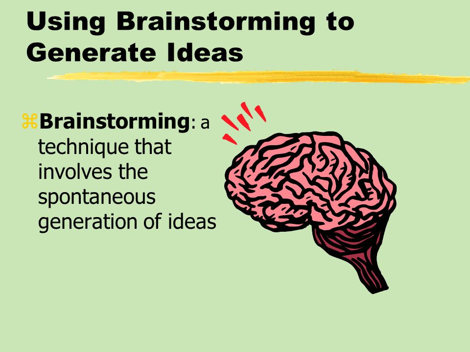 Using Brainstorming to Generate Ideas
