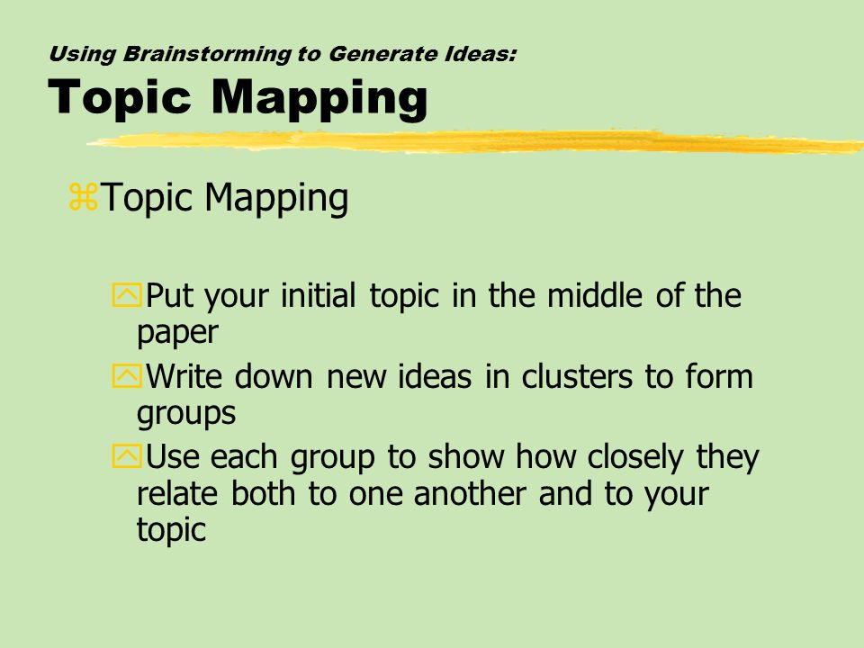 Using Brainstorming to Generate Ideas: Topic Mapping