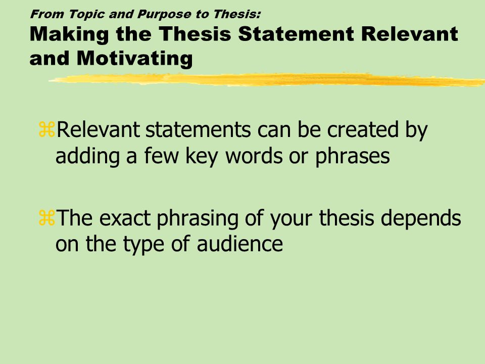 The exact phrasing of your thesis depends on the type of audience
