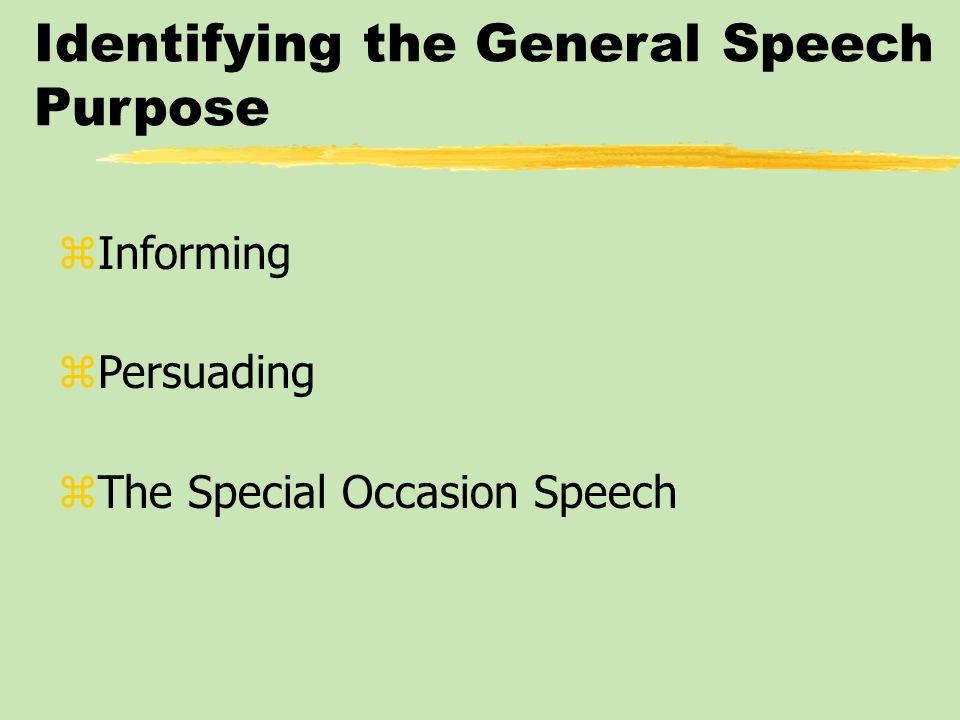 Identifying the General Speech Purpose