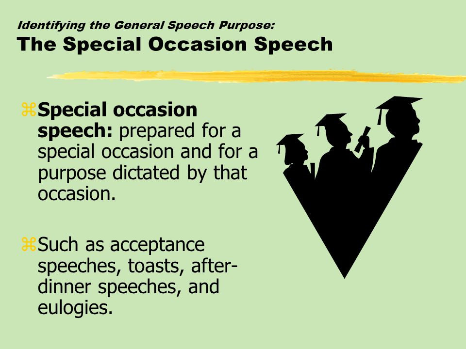 Identifying the General Speech Purpose: The Special Occasion Speech
