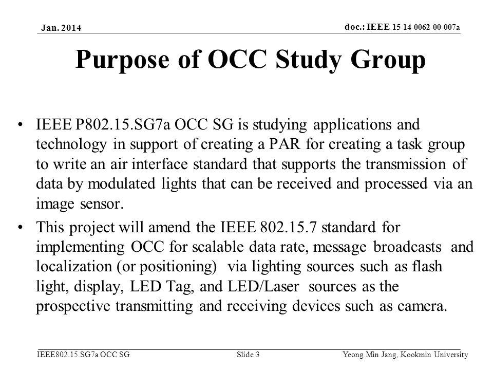Purpose of OCC Study Group