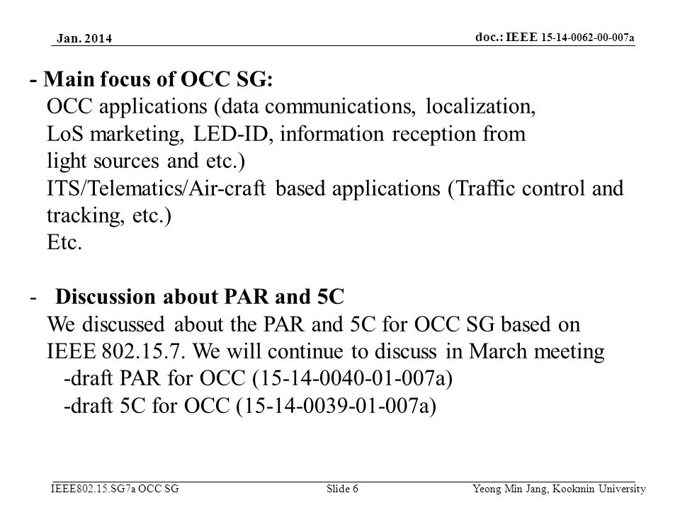 OCC applications (data communications, localization,