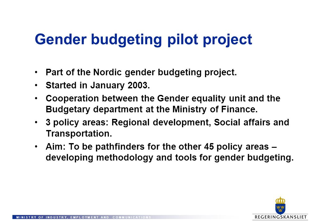 Gender budgeting pilot project