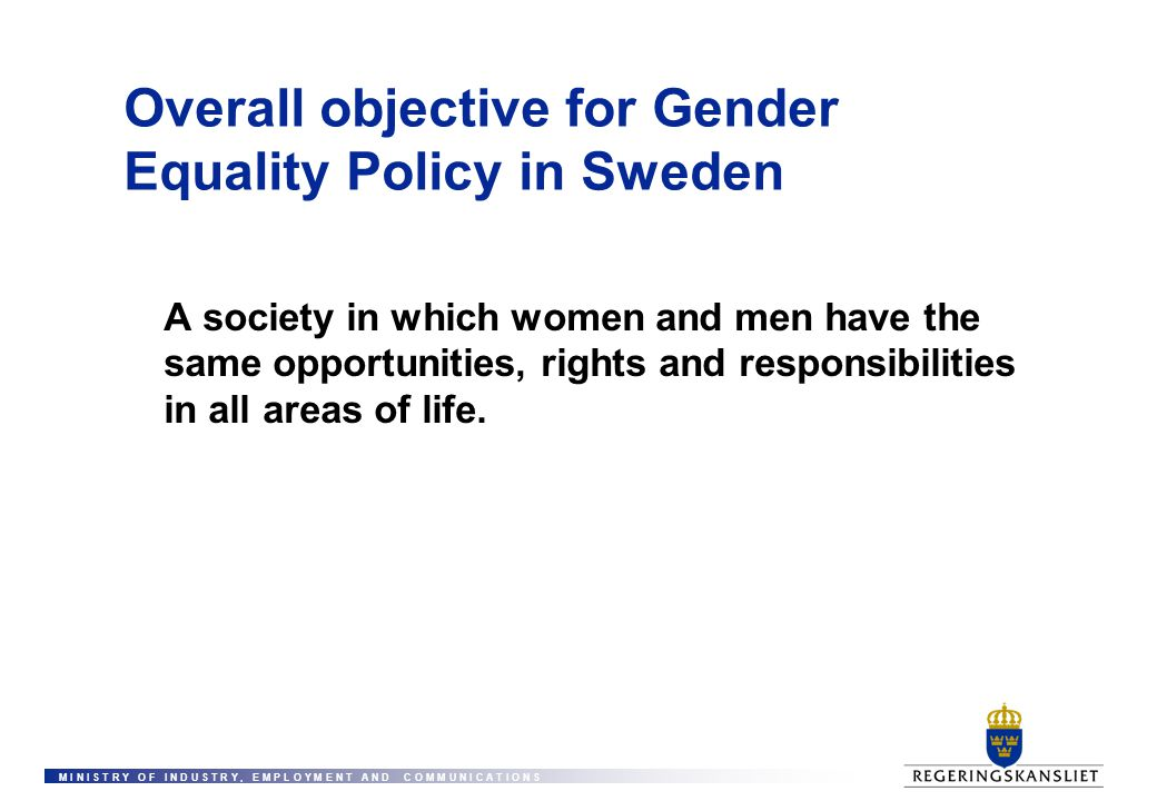 Overall objective for Gender Equality Policy in Sweden
