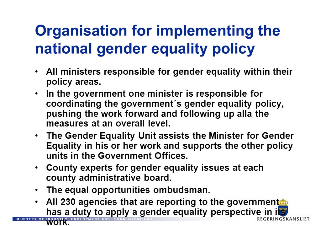 Organisation for implementing the national gender equality policy