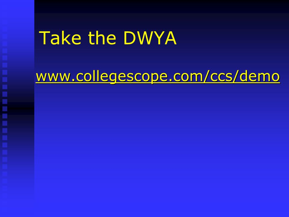 Take the DWYA www.collegescope.com/ccs/demo