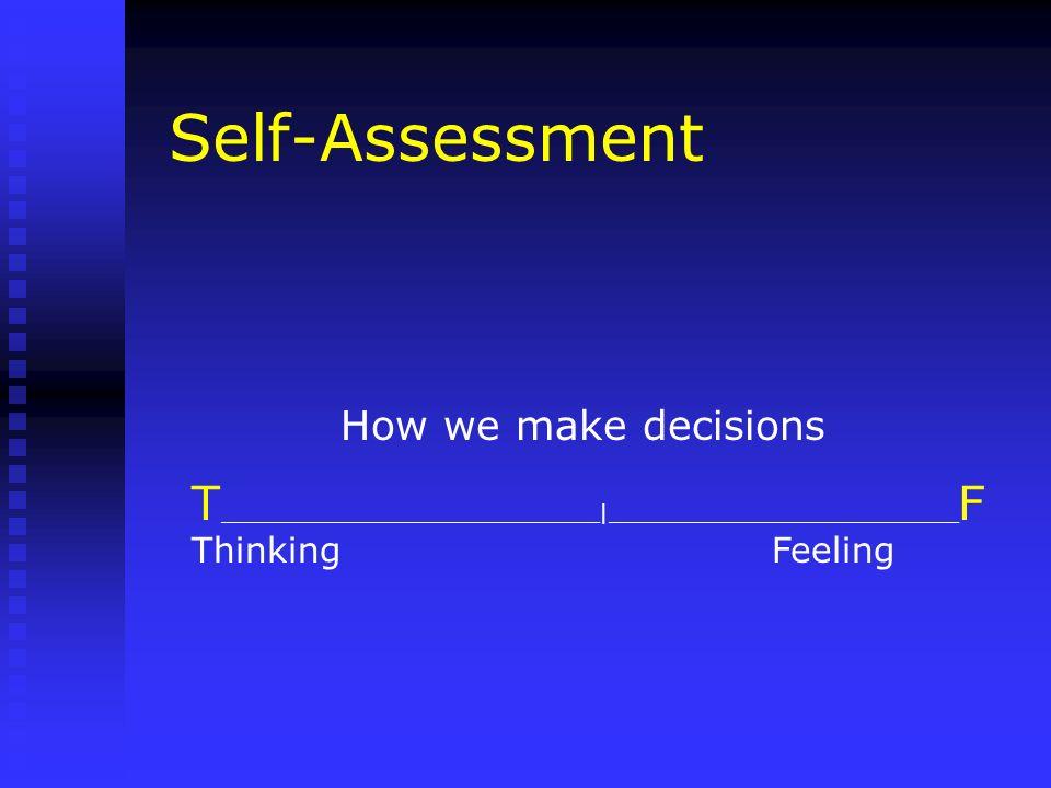Self-Assessment How we make decisions. T_____________________________|___________________________F.