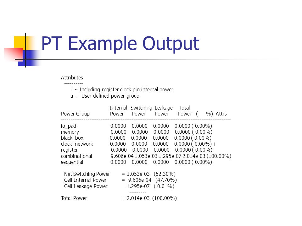 PT Example Output Attributes ----------
