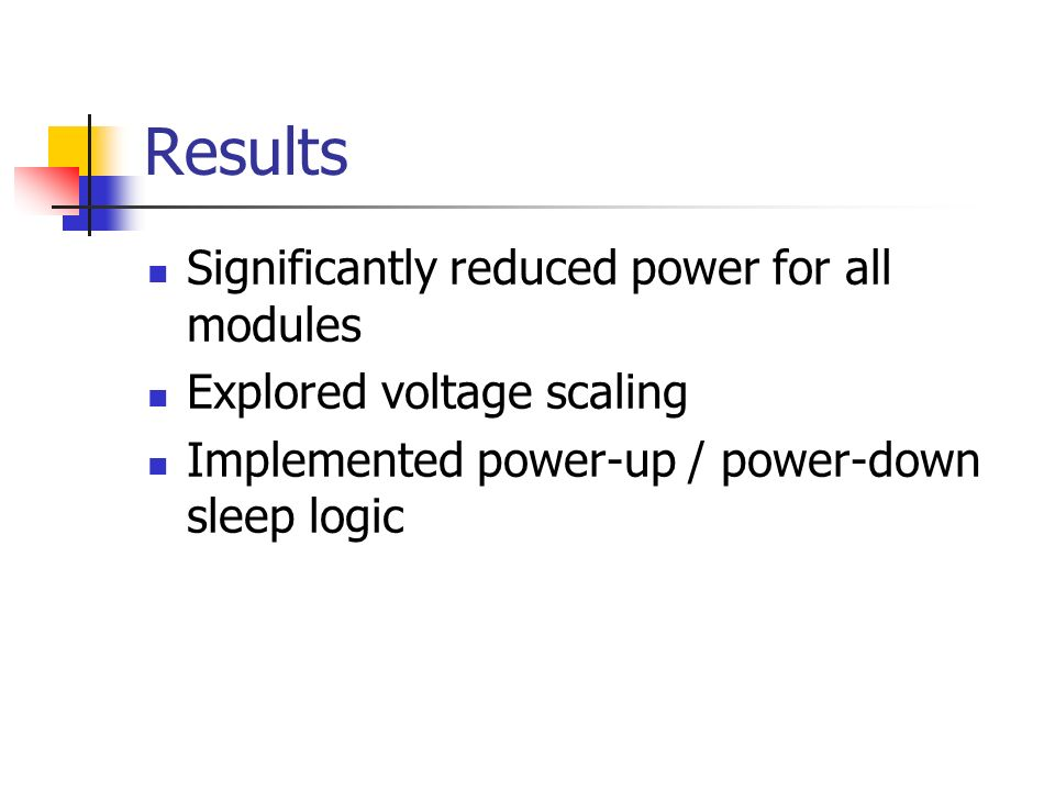 Results Significantly reduced power for all modules