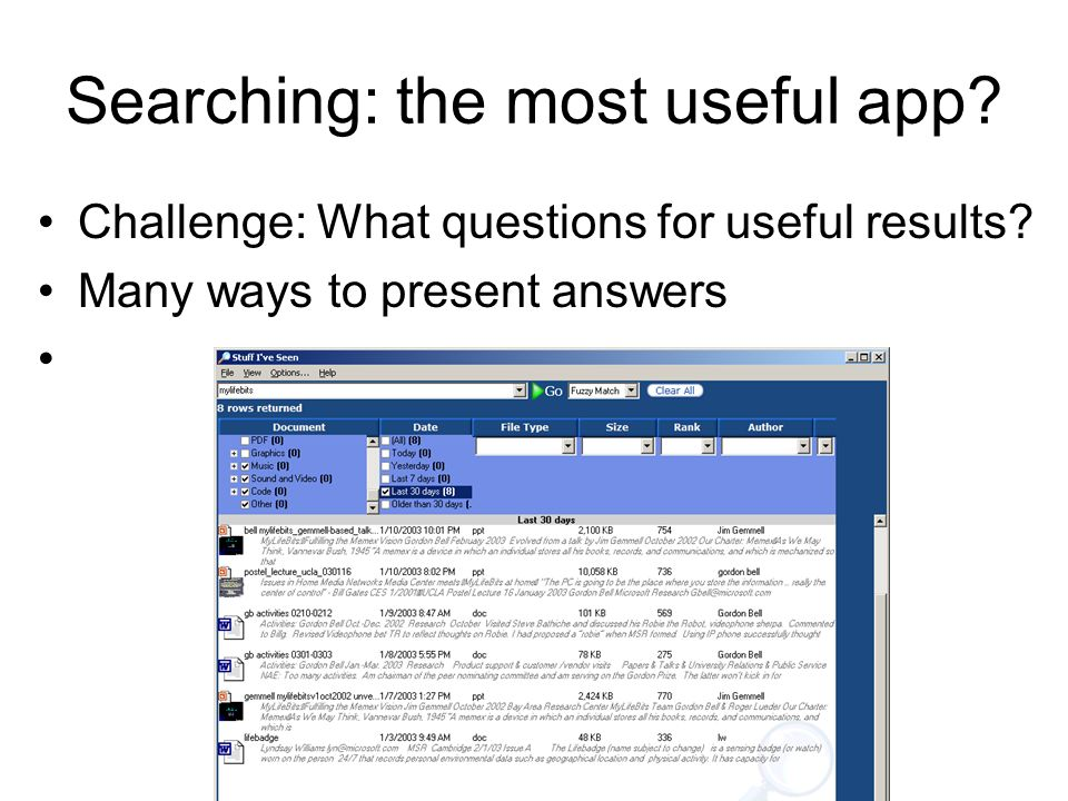 Searching: the most useful app