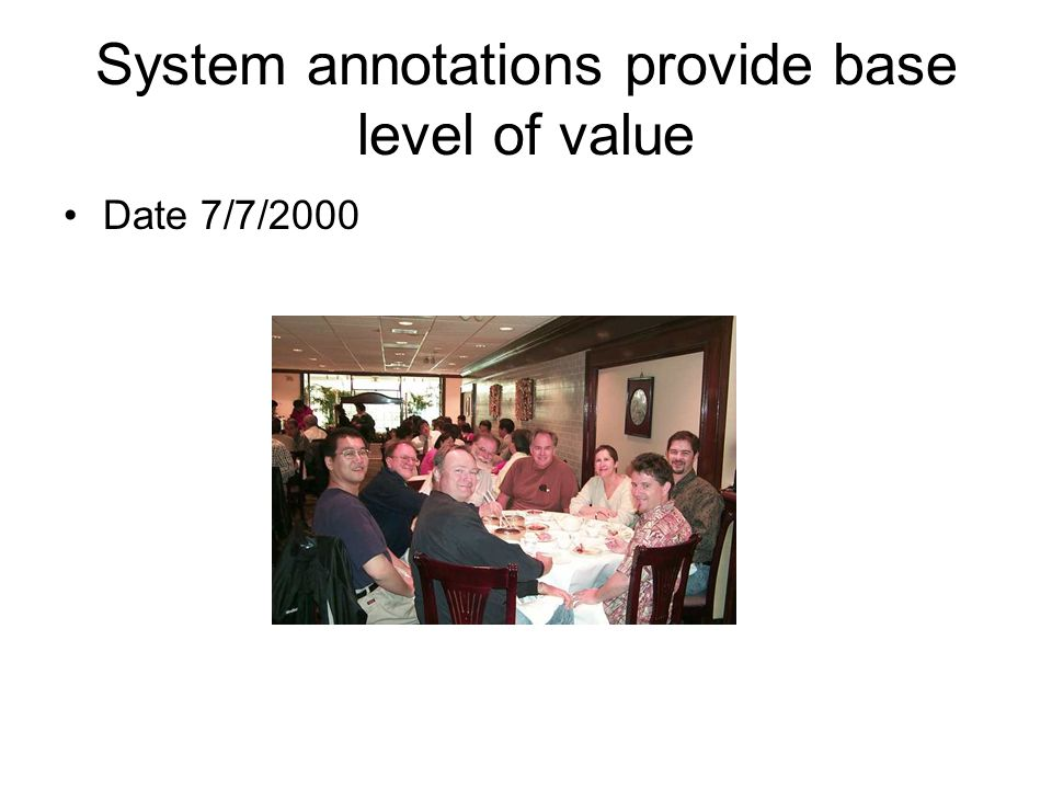 System annotations provide base level of value