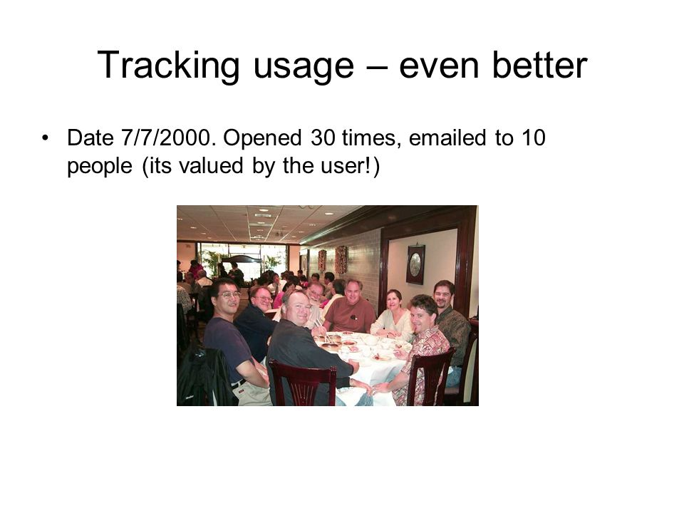 Tracking usage – even better