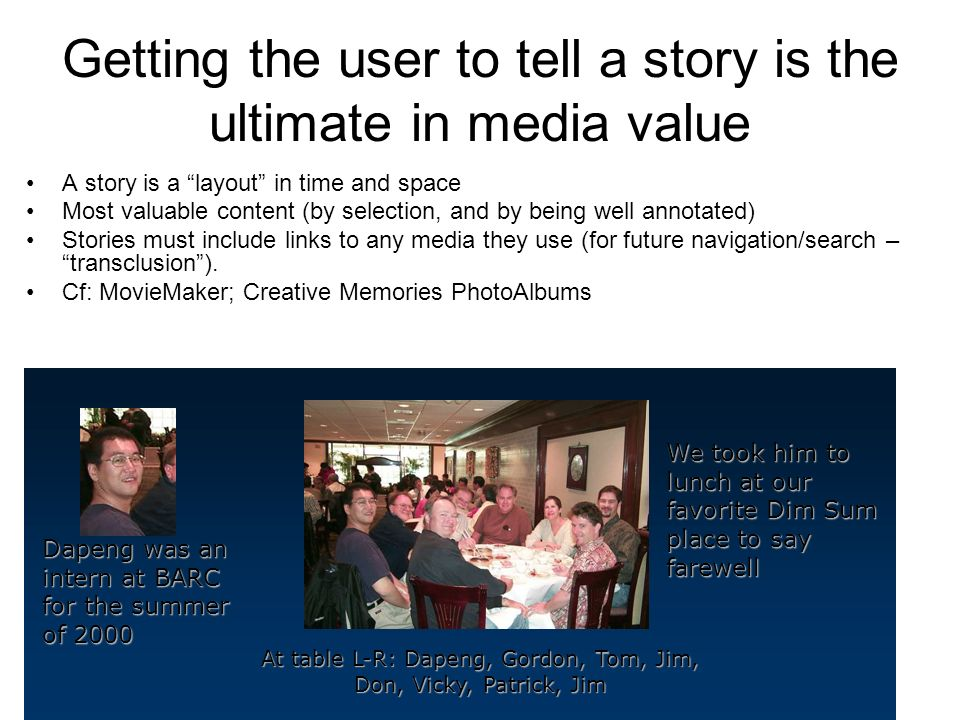 Getting the user to tell a story is the ultimate in media value