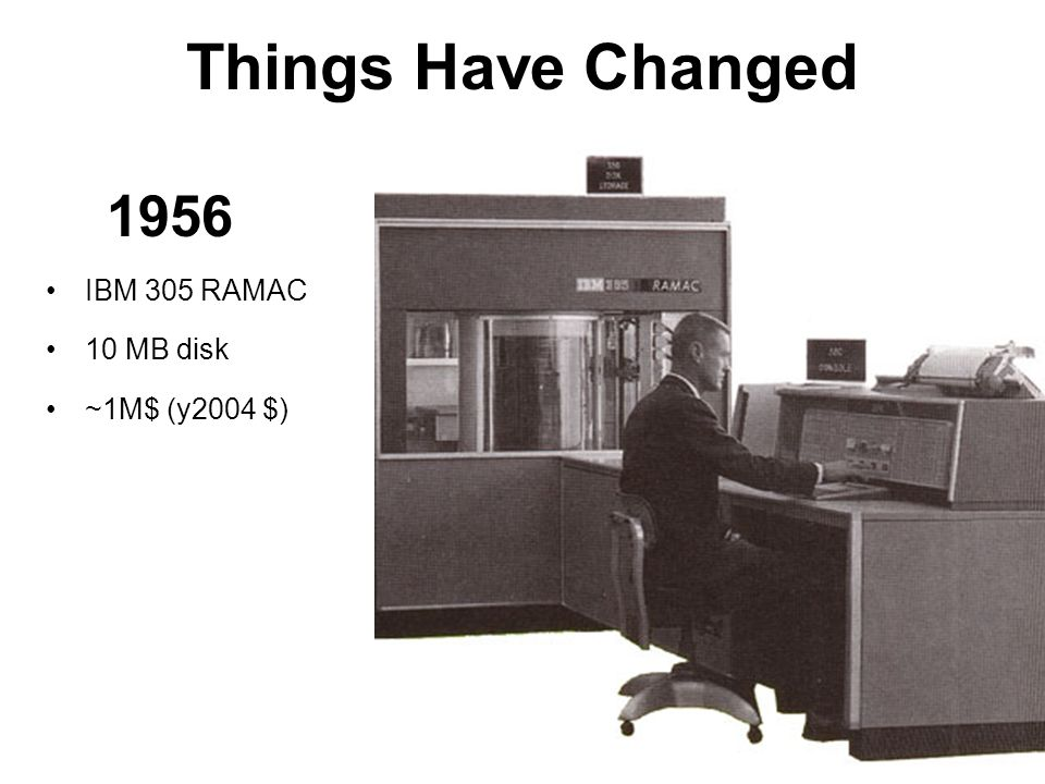 Things Have Changed 1956 IBM 305 RAMAC 10 MB disk ~1M$ (y2004 $)