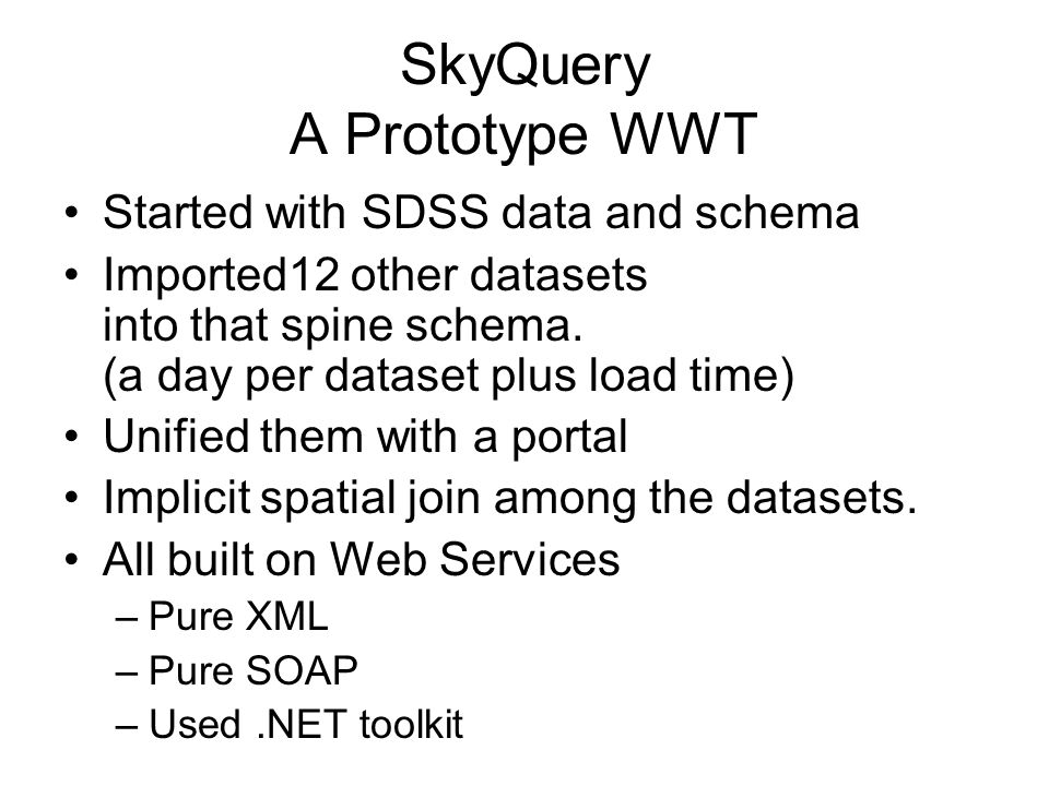 SkyQuery A Prototype WWT