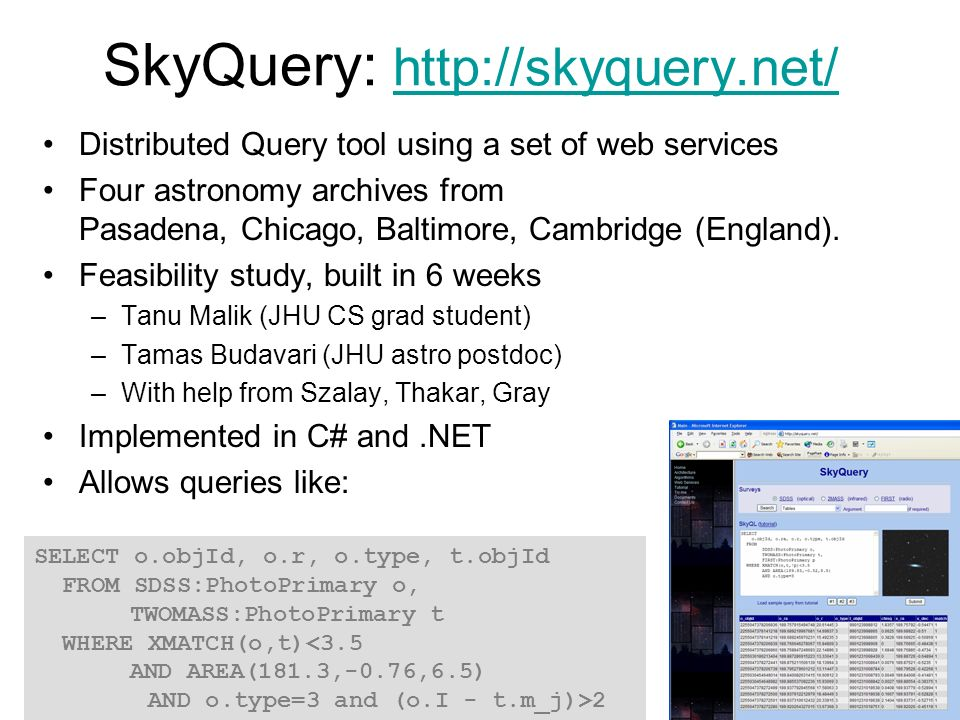 SkyQuery: http://skyquery.net/