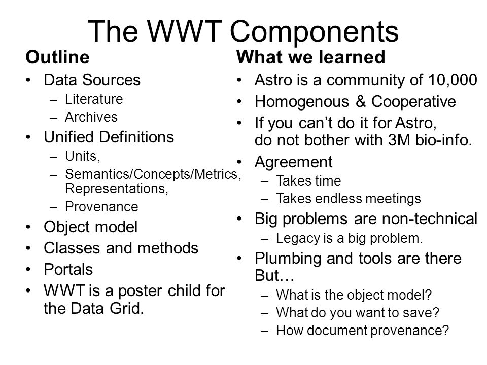 The WWT Components Outline What we learned Data Sources