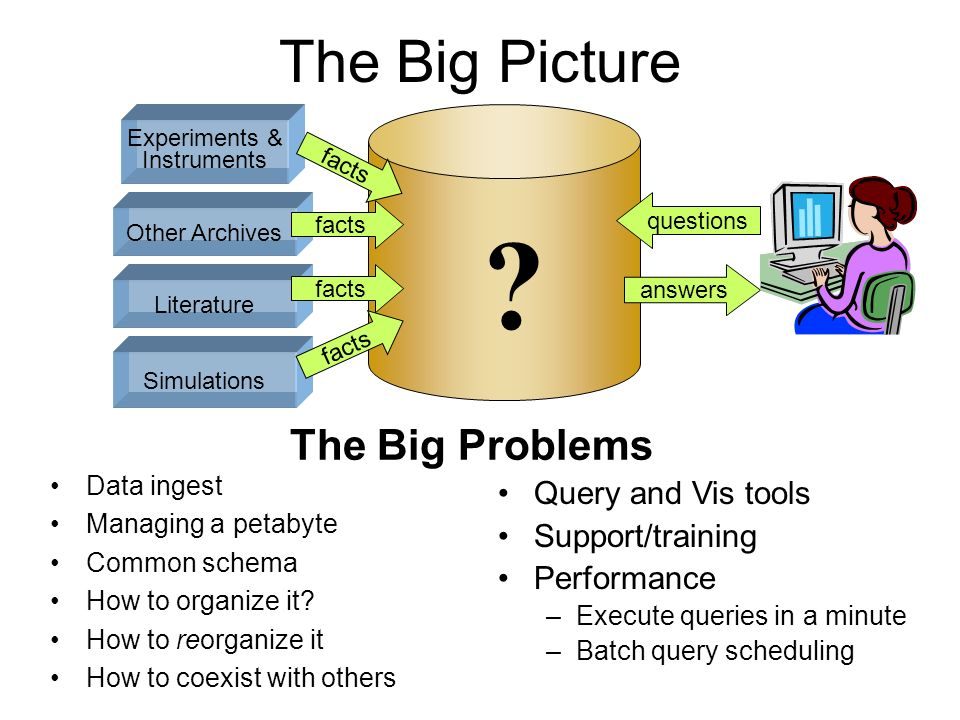 The Big Picture The Big Problems Query and Vis tools