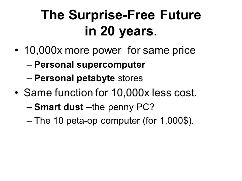 The Surprise-Free Future in 20 years.