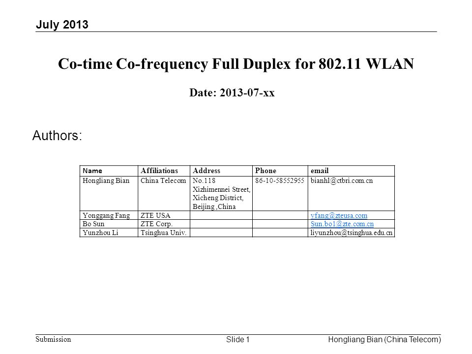 Co-time Co-frequency Full Duplex for WLAN