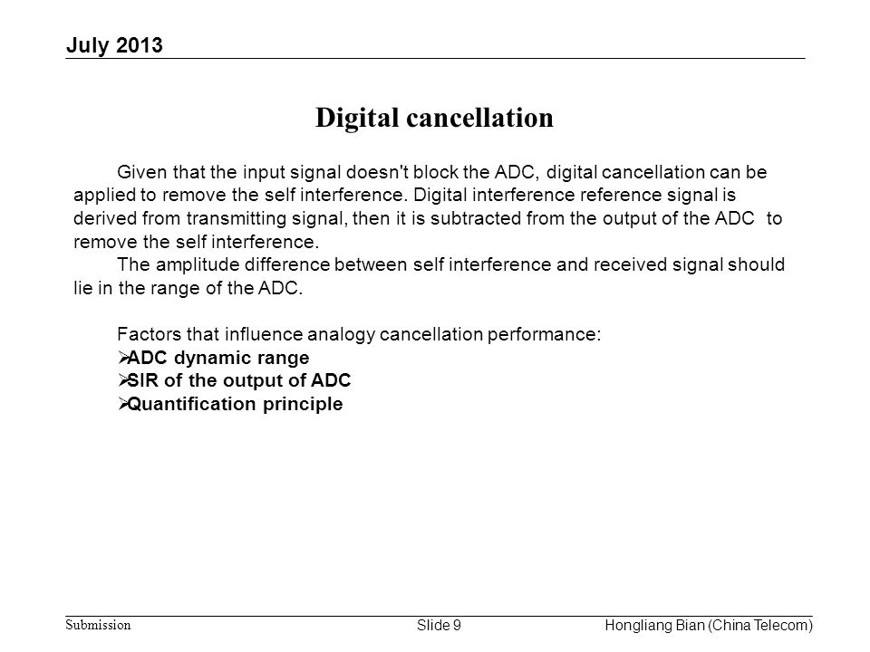Digital cancellation July 2013