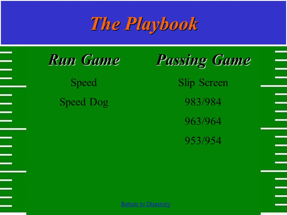 The Playbook Run Game Passing Game Speed Speed Dog Slip Screen 983/984