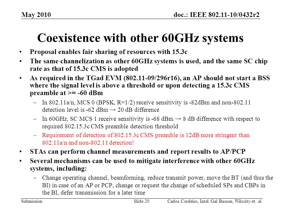 Coexistence with other 60GHz systems